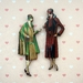 1930's flapper fashion 2  - woodcut magnet duo