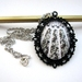 Vintage lace - Large glass dome necklace in ornate setting