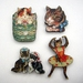 Kitsch kitties - woodcut magnet set