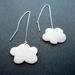 puffy cloud ear thread earrings