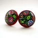 Polish folk art stud earrings in red base