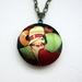 1920s flapper fashion - Patterned brass locket necklace