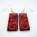Red and black art nouveau patterned earrings