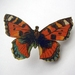 sale - Orange red butterfly brooch