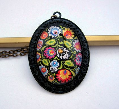 Polish folk art - Large glass dome necklace in ornate setting