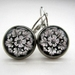 sale - glass dome black and white sculptural floral earrings