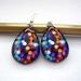 Patterned teardrop earrings - bright lights