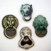 Lion head door knockers - woodcut magnet set
