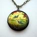 Patterned brass locket necklace - birds