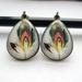 Patterned teardrop earrings - feathers