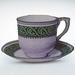 Vintage teacup brooch - lavender and emerald