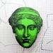 Bright apple green statue head brooch