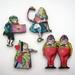 Alice in Wonderland - woodcut magnet set