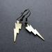 Raw brass lightening bolt earrings