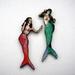 Mermaids - woodcut magnet duo
