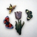 Spring garden - woodcut magnet set