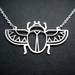 Winged scarab beetle stainless steel pendant necklace