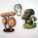 Trio of Mushrooms - woodcut magnet set