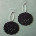 Large and light wooden chrysanthemum earrings