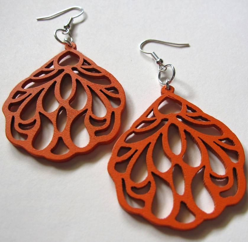 Orange wing earrings