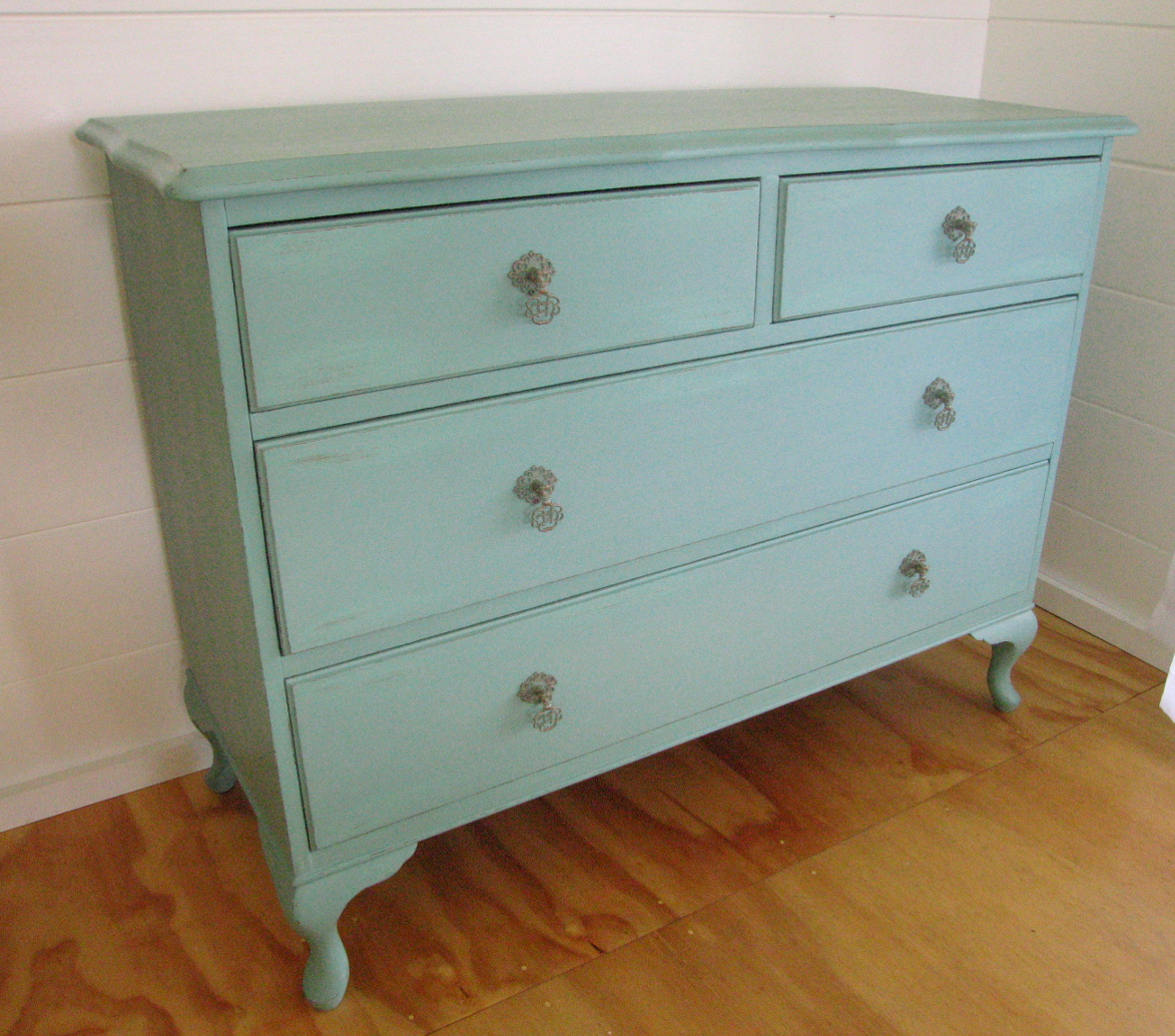 shabby chic 4 drawer sideboard hand painted in welsh green with copper accents felt. Black Bedroom Furniture Sets. Home Design Ideas