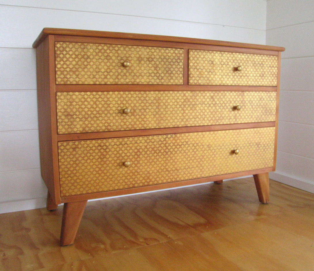 Contemporary 4 Drawer Rimu Sideboard With Hand Painted
