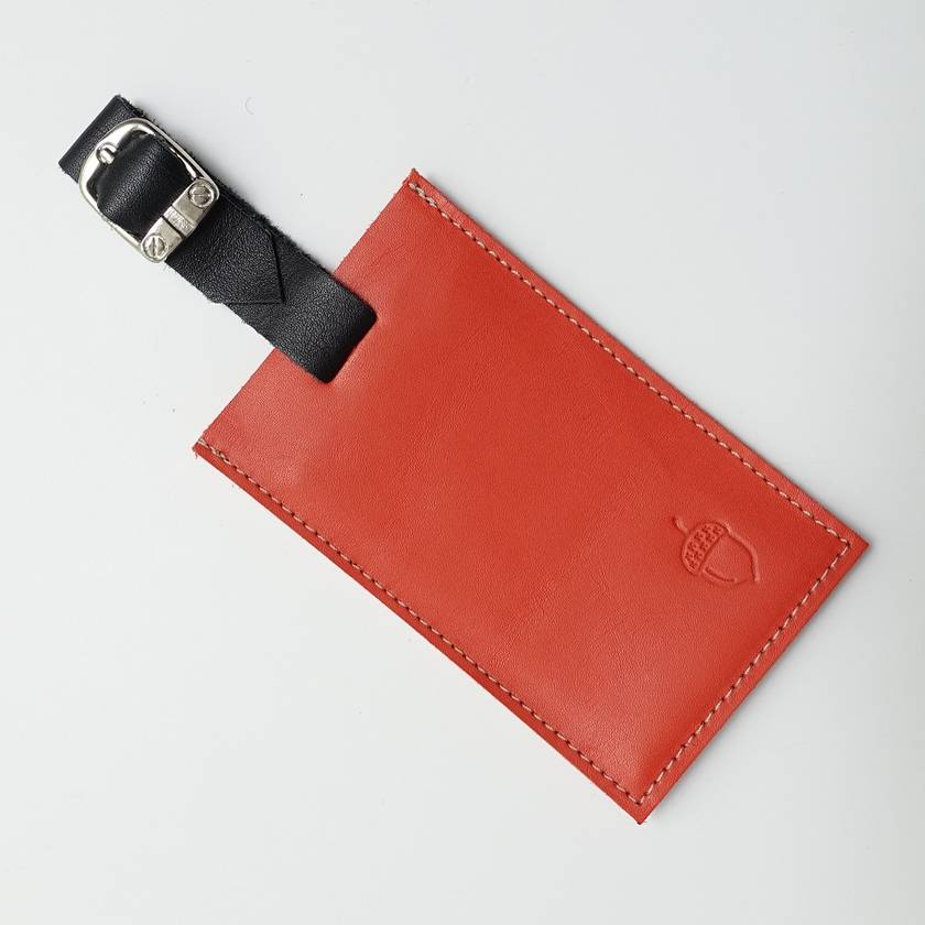 Leather Luggage Tag with Leather Strap