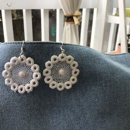 Handmade , delicate cream-coloured  bridal Lace earrings