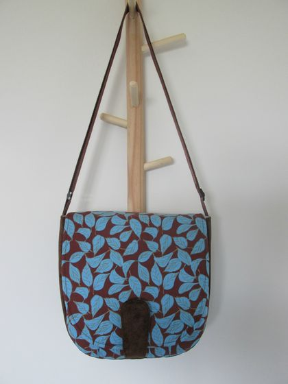 Saddle Bag - blue leaf