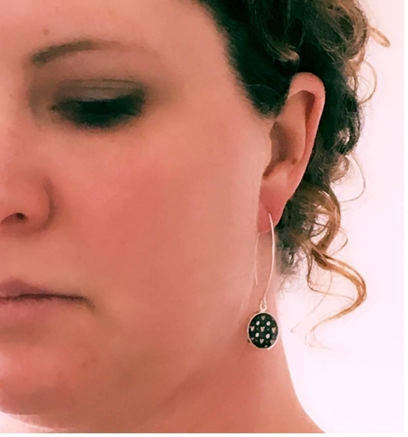 Vintage Flowers Sterling Silver Hook Earrings