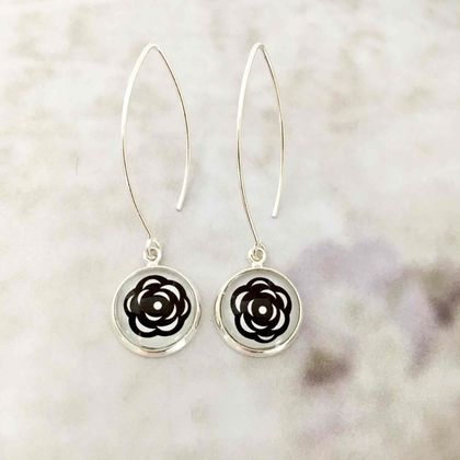 Modern Roses Sterling Silver Hook Earrings