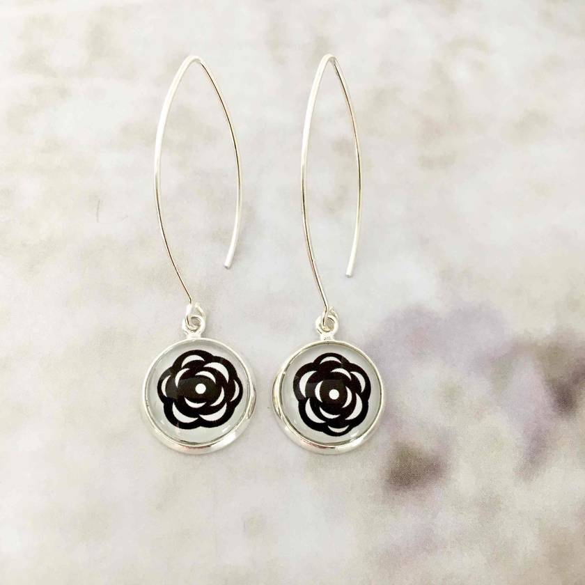 Modern Roses Sterling Silver Hook Earrings