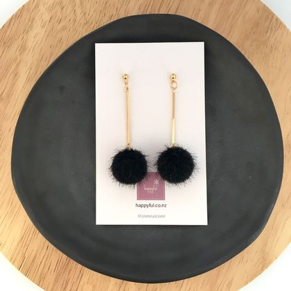 Black Pompom Earrings