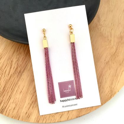 Pink Chain Tassel Earrings