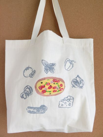 """Pizza""Screen Printed Cotton Tote Bag, Reusable Grocery Bag, Eco Friendly Shopper Tote, Farmers Market"