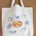 """Pizza""Screen Printed Cotton Tote Bag, Reusable Grocery Bag, Eco Friendly Shopper Tote, Farmers Market"
