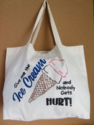 """ Ice Cream ""  Screen Printed Cotton Tote Bag, Reusable Grocery Bag, Eco Friendly Shopper Tote, Farmers Market"