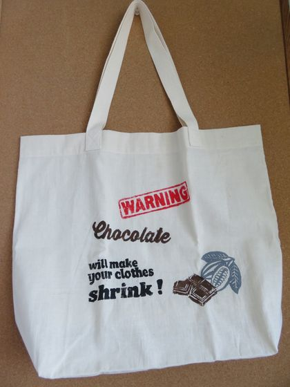 """Warning Chocolate""  Screen Printed Cotton Tote Bag, Reusable Grocery Bag, Eco Friendly Shopper Tote, Farmers Market"