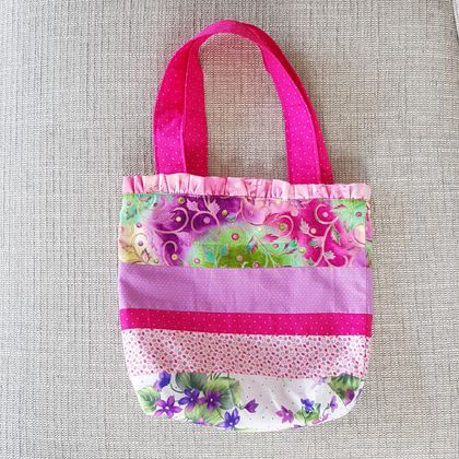 Child's ruffle-top tote bag