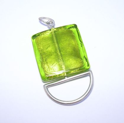 Silver and square glass bead pendant