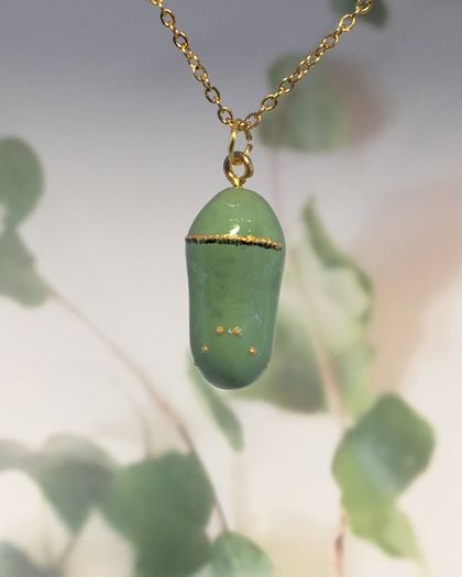 FRESH MONARCH CHRYSALIS - handmade pendant with painted detail