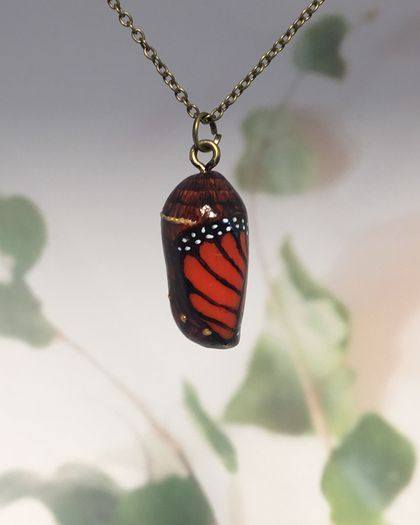 EMERGING MONARCH CHRYSALIS - handmade pendant with painted detail