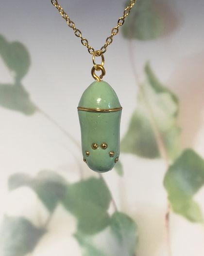 STYLISED MONARCH CHRYSALIS - handmade pendant with gold detail