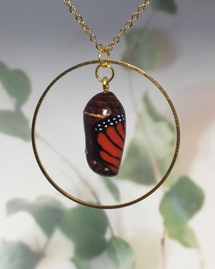 HAND PAINTED MONARCH CHRYSALIS - encircled in gold