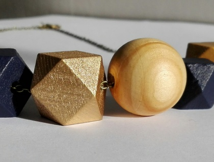 Wooden bead necklace on chain
