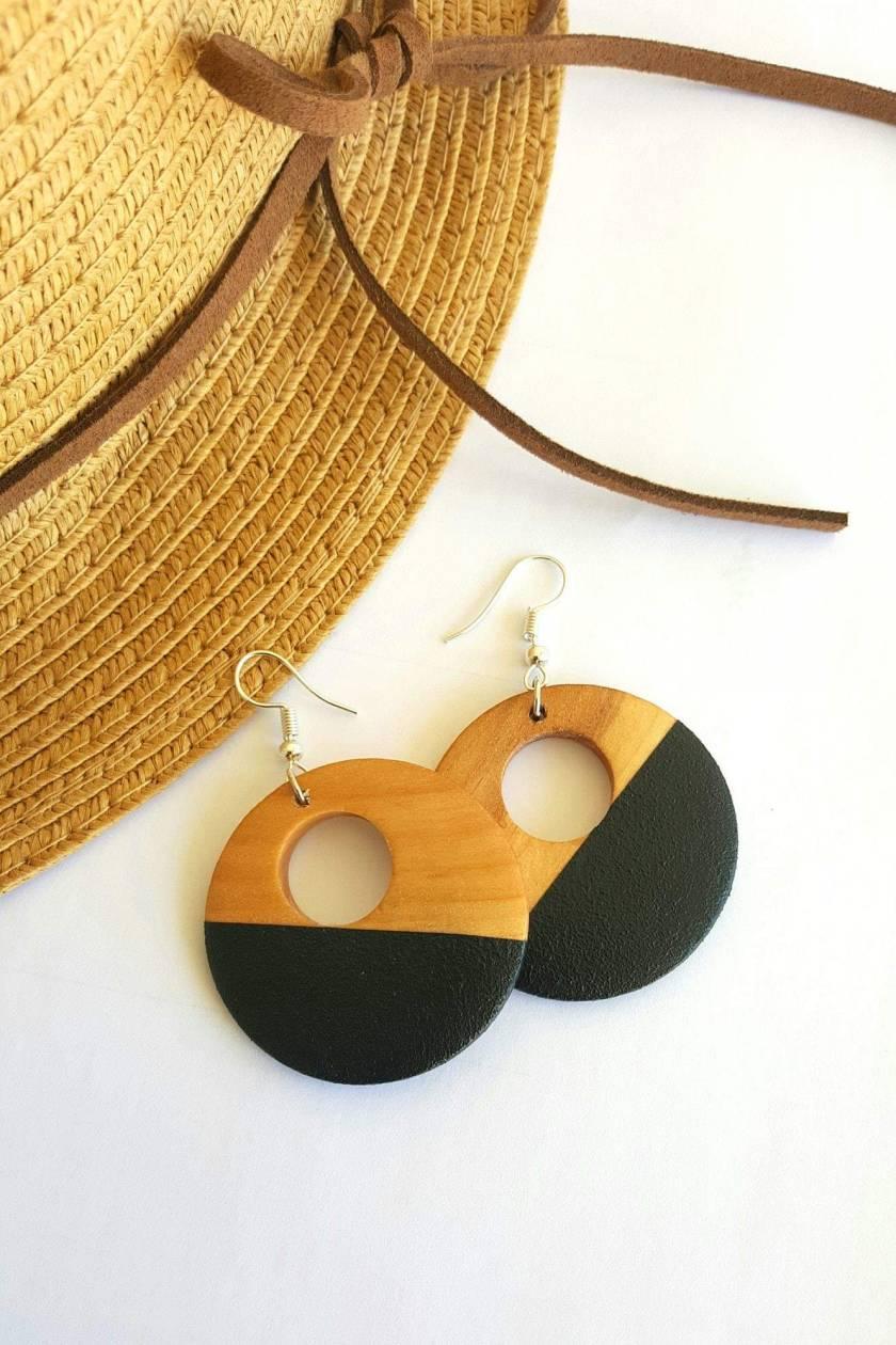 Wooden earrings - triangular & circular.