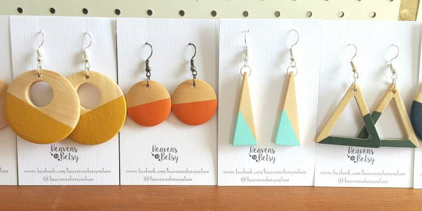 Wooden earrings - triangular & circular.  Two pair for $35.