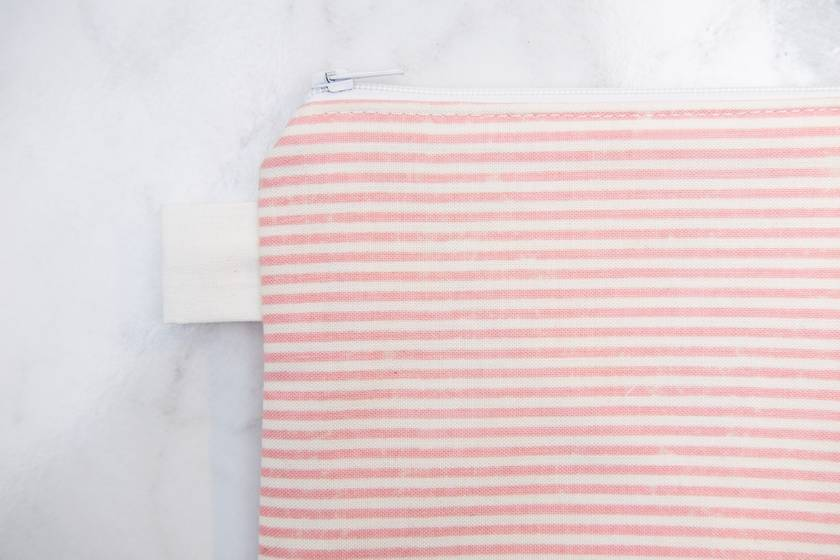 Small Zippered Pouch - Pink Stripes