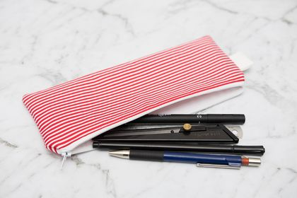 Red and White Striped Pencil Case