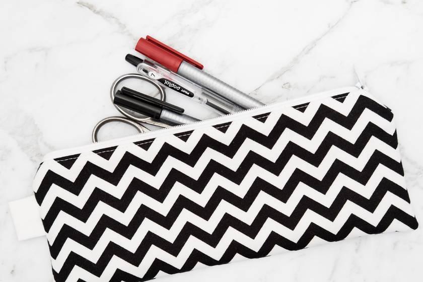 Black and White Chevron Pencil Case